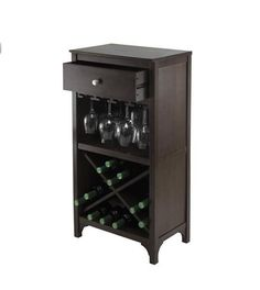 Liquor Storage Cabinet Furniture Wine Holder Glass Rack Drawer Wood Portable #Winsome