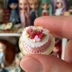 Dollhouse Miniature heart shaped cake.