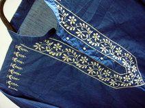 Hombre azul camisa de manga larga de algodón kurta
