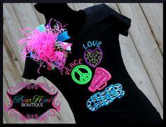 Peace, Love, Cheer - Girls applique shirt and XL hair bow set