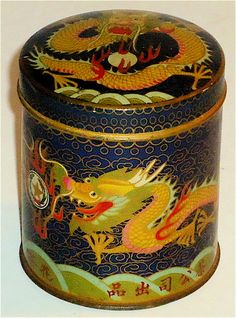 Early Vintage Asian Chinese Tea Tin with Dragons NR | eBay
