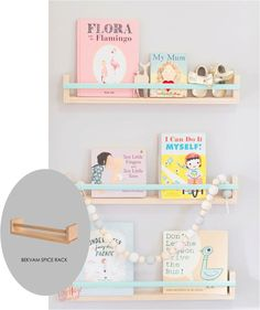 Get the look - use ikea spice racks to make pretty book shelves
