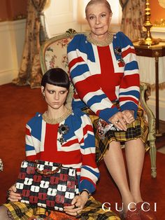 Vanessa Redgrave stars in the Gucci Cruise 17 campaign, shot at Chatsworth House. Union Jack intarsia knit tops with plaid appliquéd skirts and the Gucci Lilith exotic bag with bamboo handle. Celine Campaign, Veronica Webb, Gucci 2017, Faye Dunaway, Ford, Gucci Designer, Fashion Advertising, Young Fashion, Fashion Show