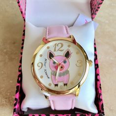 Betsey Johnson Little Piggy Pig Watch BJ00280-37 Pink Leather Band   | eBay