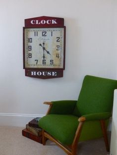 Reclaimed, upcycled green chair, Wool Tweed armchair is from season 2 of money for nothing on July, cool vintage furniture that's been aired on TV 650 pounds Vintage Walls, Vintage Furniture, Furniture Design, Vintage Clocks, Kitchen Wall Clocks, Restaurant Furniture, Mid Century Chair, Red Kitchen, Interior Walls