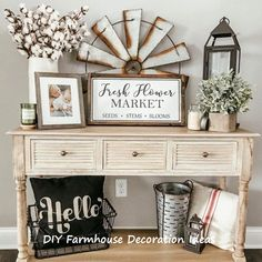 DIY Home Decor pin 4344808352 - Comfortable roooom decor tips and inspirations to create a delightfully exciting and vibrant room. For other note-worthy creative diy home decor tips information stopover the image to read the summary today. Farmhouse Side Table, Country Farmhouse Decor, French Country Decorating, Rustic Decor, Modern Farmhouse, Modern Country, Farmhouse Ideas, Rustic Modern, Farmhouse Style