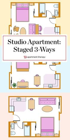 How you choose to arrange your furniture has a huge impact on the feel of your space. In a studio apartment where every single square foot counts—here are 3 ways to lay out your small space. #studio #studioapartment #smallspace #studiolayout #studioapartmentideas #layoutideas #smalllivingroom #smallbedroom