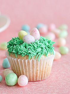cupcake easter eggs and grass