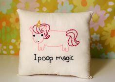 Unicorn Pillow Magical Pooping Unicorn by ohhoneychild on Etsy, $22.00