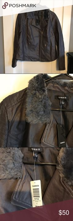 """Lace-up Back Faux Fur Collar Moto Jacket Lace up back faux fur collar moto jacket. Zip moto - Cropped length, grey faux fur collar, lace up back, grey faux leather. Length approximately 24-1/2"""". Underarm to underarm is approximately 22"""". Two front zipper pockets. Zippers on wrist area, robbed shoulders   Torrid size 2 (18-20) torrid Jackets & Coats"""