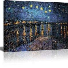 - Canvas Print Wall Art - Starry Night over The Rhone by Vincent Van Gogh Reproduction on Canvas Stretched Gallery Wrap. Ready to Hang - We use high quality canvases which are designed specifically for canvas printing. Abstract Canvas Wall Art, Wall Canvas, Artist Canvas, Oil Painting On Canvas, Artist Painting, Wall Art Prints, Poster Prints, Canvas Prints, Vincent Van Gogh