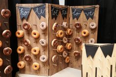 Donut Wall - Wedding - Special Occassion - Dessert Display - Doughnut - Donut Stand - Welcome to DonutWallsCo! Our passion for donuts and wood working gives us the opportunity to make yo - Doughnut Wedding Cake, Wedding Donuts, Wedding Cake Prices, Fall Wedding Cakes, Wedding Desserts, Donut Decorations, Wedding Decorations, Donut Bar, Handmade Wedding
