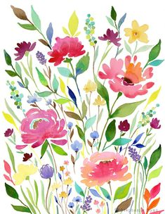 Art print let your garden grow print: floral sanat eğitimi, Art Aquarelle, Watercolor Art Paintings, Watercolor Flowers, Painting & Drawing, Watercolors, Kid Painting, Drawing Flowers, Watercolor Wallpaper, Painting Flowers