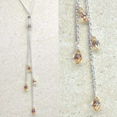 Simple Delicate Y Drop Necklace Lariat Style / Gemstone & Swarovski Crystal, Silver Filled Chain, ✨https://www.etsy.com/au/listing/236913528/simple-delicate-y-drop-necklace-lariat?ref=shop_home_active_2