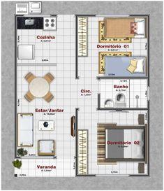 Planta baixa para Minha Casa Minha Vida 22 2 Bedroom House Plans, Dream House Plans, Small House Plans, House Floor Plans, Layouts Casa, House Layouts, Apartment Plans, Apartment Design, Dream Home Design