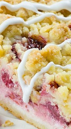 Strawberry Cheesecake Coffee Cake ~ With seven irresistible layers – buttery and moist, vanilla crumb cake, creamy cheesecake filling, juicy strawberries, another cake layer topped with sliced strawberries, crumb topping and sweet vanilla glaze... Mind-blowing texture and flavor combo!!