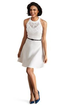 """34"""" short Donna Morgan  Lace Inset Fit & Flare Dress   Be the first to write a review   ask a question  Regular$128.00"""