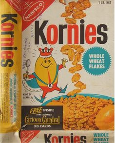 1967 Nabisco Kornies Cartoon Carnival Cereal Box - Front - New Zealand    Advertising a series of 30 Die-Cut Cartoon Carnival cards - Rare!