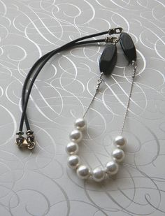 Leather and Pearls Necklace by JulieEllisDesigns