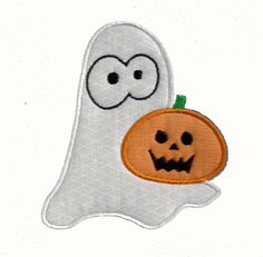 Free Embroidery Design for Halloween:  Ghost with Pumpkin - I Sew Free