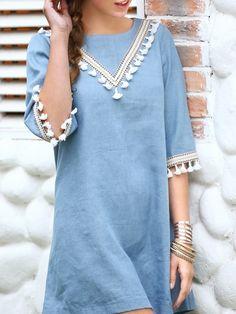 Blue Tassel Trim Keyhole Back Shift Dress