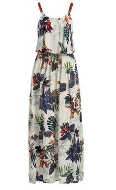 Elastic Waist Sleeveless Printed Maxi Dress