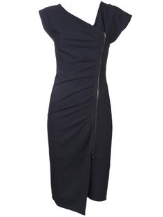 Dark navy ruched zip dress from Veronica Beard featuring a v-neck with asymmetrical zip up front with side ruched detail, v-shaped back, and long length hem. £$713.97 by farfetch