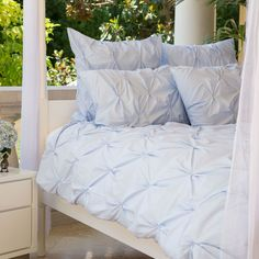 Bedroom inspiration and bedding decor | The Valencia Light Blue Pintuck Duvet Cover | Crane and Canopy