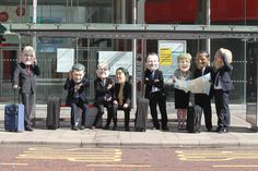 Oxfam 'Big Head' Leaders at a bus stop in Belfast, making their way to the summit. Bus Stop, Belfast, Big, People, People Illustration, Folk