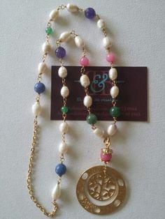 Collar perla y jade en chapa de oro