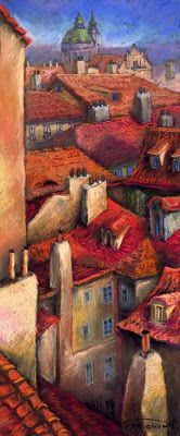 Prague Rooftops In Painting
