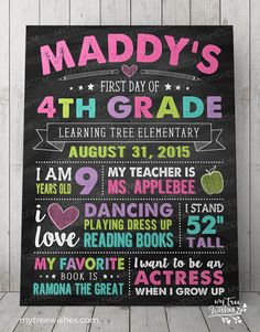 First Day of School Chalkboard Sign 1st Day of by MyTreeWishes