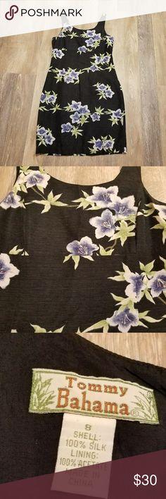 Tommy Bahama silk dress Dark Navy floral washable silk Tommy Bahama Dresses