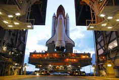 Space Shuttle rolling out of VAB on its way to the launch pad, KSC