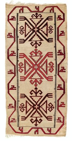 Hibta, flatwoven reeds with woollen embroidery, Daghestan, northeast Caucasus, early 20th century