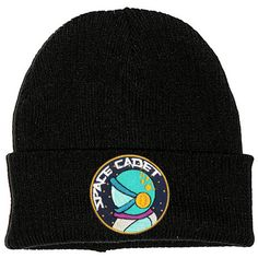 741b7efd7c4bd Space Cadet Astronaut Black Beanie Hat Embroidered Patch 2 Sizes 90s...  ( 9.75