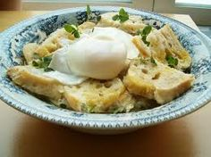 "It ´s called "" Açorda Alentejana "" .  We make it whith twe water where we boiled codfish , bread , coriander ,garlic and eggs"