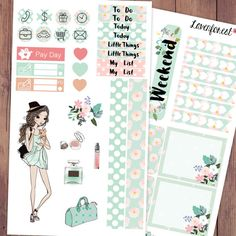 Daisy planner stickers kit| for erin condren planner stickers| happy planner stickers| life planner stickers| girl mini kit| MK003