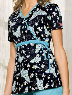 """""""Tiffany Butterfly"""" print scrub top, by Dickies"""