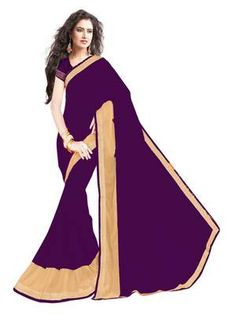 Georgette Violet Coloured Sarees For Farewell Purpose Sarees on Shimply.com
