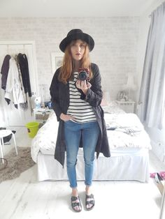 Fedora, breton and birkenstocks outfit http://www.josies-journal.com/2014/05/new-in-topshop-heights-double-strap.html