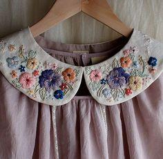 via wood room,rairai handmade clothes Embroidery Stitches, Embroidery Patterns, Hand Embroidery, Sewing Patterns, Do It Yourself Fashion, Embroidery Fashion, Handmade Clothes, Needlework, Creations