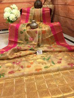 Tissue Saree in Golden Color with Fine Zari Weaving Fancy Sarees, Party Wear Sarees, Maggam Work Designs, Kota Sarees, Wedding Silk Saree, Indian Silk Sarees, Saree Photoshoot, Indian Bridal Wear, Saree Shopping