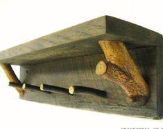 RUSTIC WALL SHELF W/ twig peg hooks - Coat Rack, Hat Rack, Key Rack, Jewelry Rack, Organizer, Shelf, Key Holder, Rustic, Mountain, Farmhouse