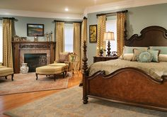 Love the blue with the gold, must make gold drapes for my dining room, since my walls are the same, stratton blue. Colorful Master Bedroom Designs. Beautiful Bedding - traditional - bedroom - newark - Marina Klima Goldberg, allied ASID, CAPS