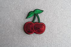 Sequin Cherry Patch Iron on or sew on. by TheIrishKnittingRoom Cool Patches, Leather Fabric, Cherry, Sequins, Iron, Cool Stuff, Unique Jewelry, Handmade Gifts, How To Make