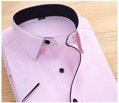 His Fashion Pink Short Sleeve Business Casual Men Dress Shirt Business Casual Men, Business Fashion, Casual Shirts For Men, Men Casual, Twill Shirt, Purple Shorts, Pink Fashion, Shirt Style, Men Dress