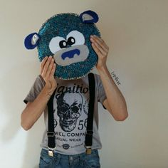 Crochet pillow.. Blue bear