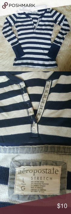 Aeropostale Striped Long Sleeve Women's Top Aeropostale Long Sleeve Top - Striped Blue and White - Thermal Material - Button up Neck - Size Large Aeropostale Tops Tees - Long Sleeve