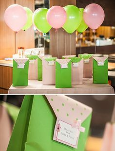 Green and pink birdhouse party